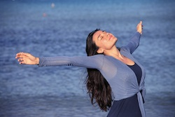 woman conscious breathing